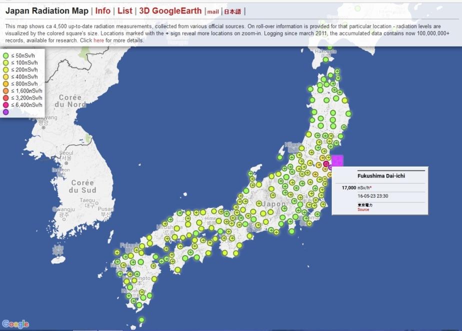 Radiation Map Fukushima Watchdogs - Japan radiation map 2016