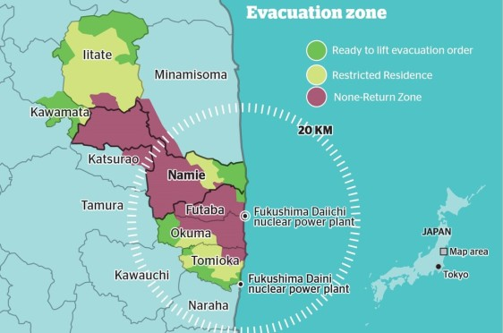 2 The evacuation order was lifted for the zones in green on April 1, 2017